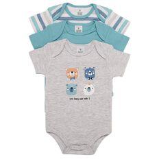 Hippo + Friends Baby Short Sleeve Print Bodysuit 3 Pack
