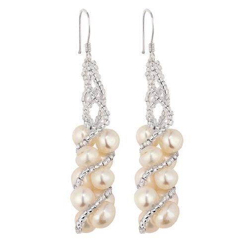Sterling Silver Twist Pearl Drop Earrings
