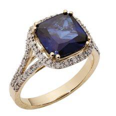 1/4 Carat of Diamonds 9ct Gold Diamond Synthetic Sapphire Ring