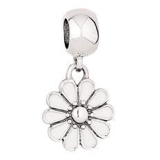 Ane Si Dora Sterling Silver Enamel White Flower Drop Charm