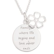 Sterling Silver Disc Family Message Pendant Sterling Silver
