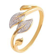 9ct Gold Diamond Leaf Ring