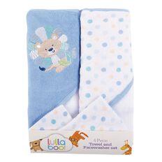 Lullaboo Towel and Facewasher Set Blue 4 Piece
