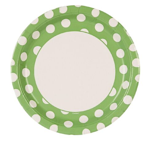 Unique Plates Dots Lime 22.9cm 8 Pack