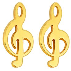 Pia Notes 9ct Gold Treble Stud Earrings