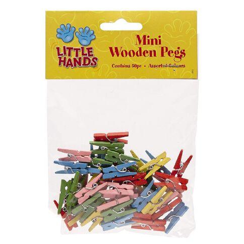 Little Hands Mini Wooden Pegs 50 Pack