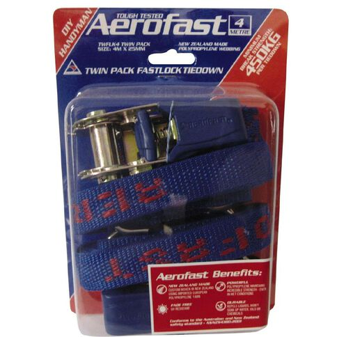 Aerofast Fastlock Tie Down 4M x 25mm 2 Pack