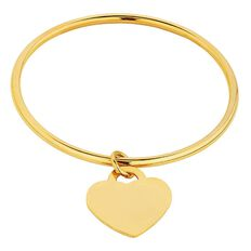 Stainless Steel Yellow Gold Plated Heart Charm Bangle