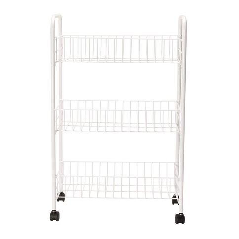 Necessities Brand Basket Trolley White 3 Tier