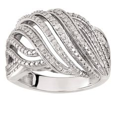 1/4 Carat of Diamonds Sterling Silver Diamond Crossover Dome Ring