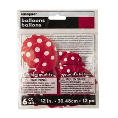 Unique Balloons Red with Dots 30cm 6 Pack