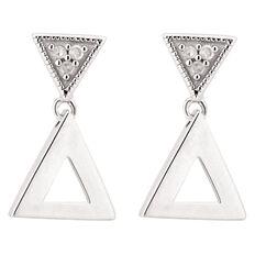 Giovani Sterling Silver Diamond Double Triangle Earrings