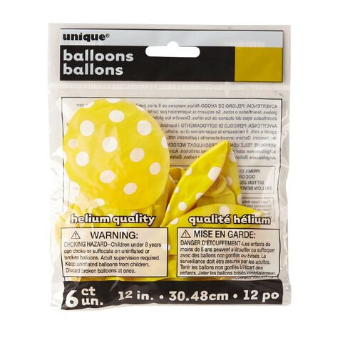 Unique Balloons Yellow with Dots 30cm 6 Pack