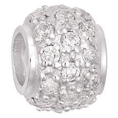 Ane Si Dora Sterling Silver Fancy White CZ Ball Charm