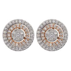 1/2 Carat of Diamonds 9ct Gold Diamond 2 Tone Halo Earrings