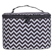 Colour Co. Toiletry Bag Train Case Chevron Black/White
