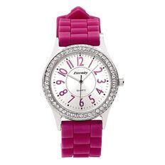 Eternity Women Silicon Strap Diamante Watch Purple