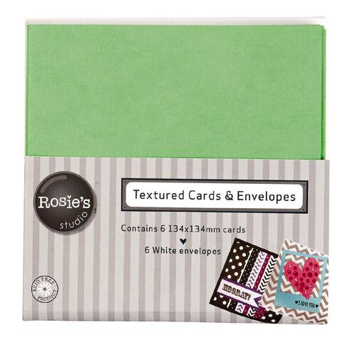 Rosie's Studio Textured Cards Lime 134mm x 134mm 6 Pack