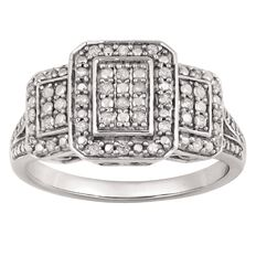 1/4 Carat of Diamonds Sterling Silver Three Rectangle Ring