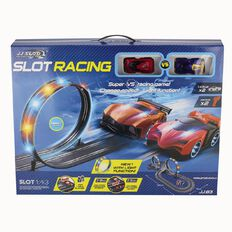 Slot Car Set with Loops & Lights Battery Operated 1:43
