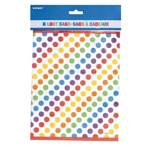 Unique Rainbow Birthday Party Loot Bags 8 Pack