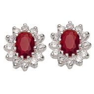 Sterling Silver Red and White CZ Earrings and Pendant Set