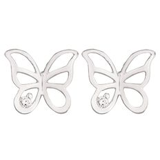 Sterling Silver CZ Butterfly Earrings and Pendant Set