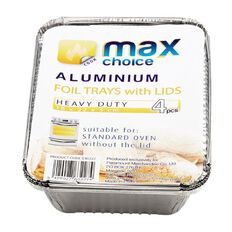 Max Choice Foil Dish with Paper Lid 4 Pack