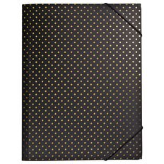 Stylo Folder with Elastic Black with Gold Foil Dots A4