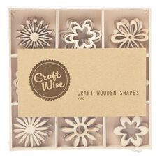 Craftwise Flowers Wooden Shapes 45 Piece