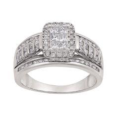 1 Carat of Diamonds 9ct Gold Fancy Bridal Set Ring