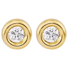 9ct Gold CZ Fancy Bezel 3mm Earrings