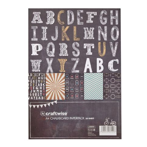 Craftwise A4 Chalkboard Paperpack 25 Piece