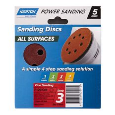 Norton Random Orbital Sander Sandpaper P120 125mm 8 Hole 5 Pack