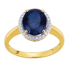 9ct Gold Diamond Synthetic Sapphire Round Halo Ring