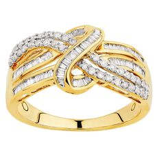 1/2 Carat Diamond 9ct Gold Diamond Fancy Crossover Ring
