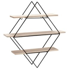 Diamond Shaped Metal Wall Shelf 3 Tier 56cm x 14cm x 60cm