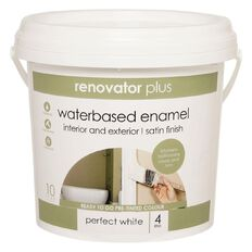 Renovator Plus Water Based Enamel Satin Paint Perfect White 4L