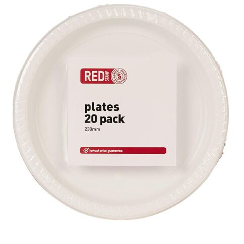 Red Stamp Brand Dinner Plate White 23cm 20 Pack