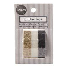 Rosie's Studio Glitter Tape Assorted Colours 10mm x 1.5m 3 Pack