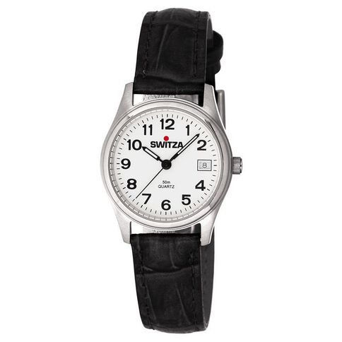 Switza Ladies' Stainless Steel Watch with Black Strap