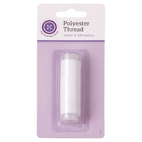 The Sewing Circle 100% Polyester Thread White 100M