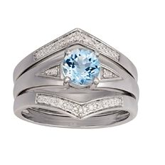 Sterling Silver Diamond Blue Topaz Trio Set Ring