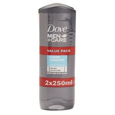Dove Shower Gel Clean Comfort 250ml 2 Pack