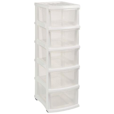 Taurus Organiser White & Clear 5 Drawer