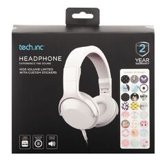 Tech.Inc Kids' Volume Limited  Headphones with Stickers White