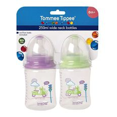 Tommee Tippee Wide Neck Bottle 250ml Assorted Colours 2 Pack