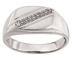 Sterling Silver Diamond Gents' Signet Ring