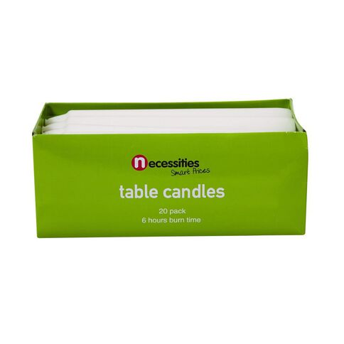 Necessities Brand Table Candles White 20 Pack