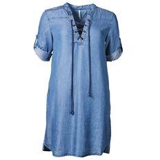 Maya Lace Up Chambray Dress